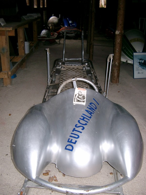 metallic sled with the word Deutschland 1 emblazoned on the front